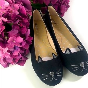 Cat & Jack Kitty Cat Ballet Flats Black Size 4